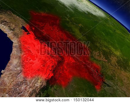 Bolivia From Space Highlighted In Red
