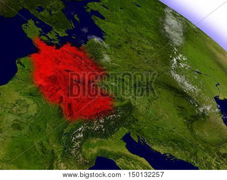 Germany From Space Highlighted In Red