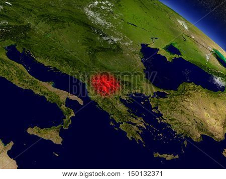 Macedonia From Space Highlighted In Red