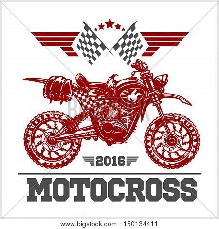 Motocross Tournament emblem for t-shirts on white background