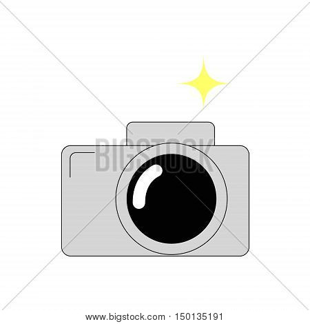 Icon camera with flash. Stock Lienen flat isolated