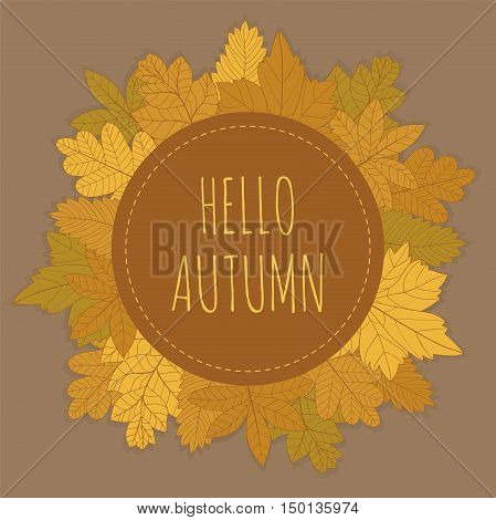 Autumn card with hand drawn leaves gathered in a circle. Vector illustration with space for text.