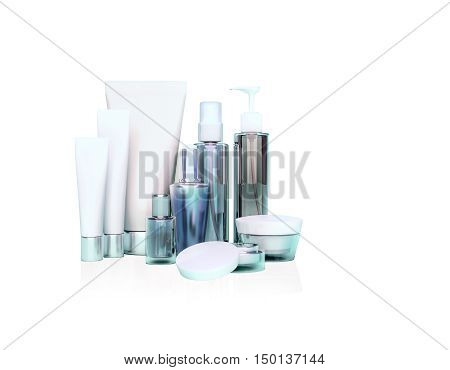 Daily beauty care cosmetic. Face cream eye cream serum and lip balm. Skin care isolated. 3D illustration