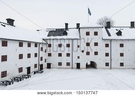 Facade Of Turku Castle Bailey And Inner Courtyard