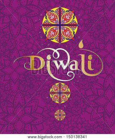 Happy Diwali Illustration. Diwali card for your design