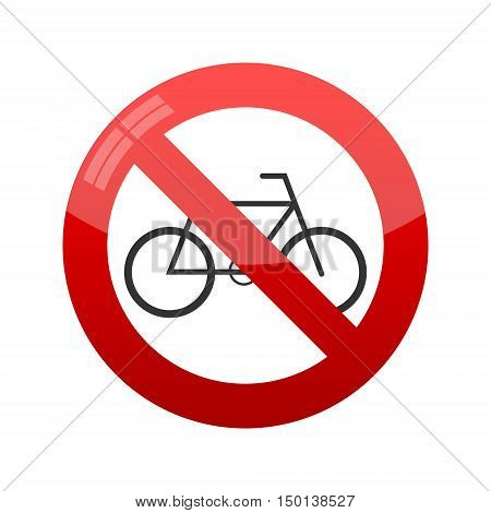 No bicycle sign, Vector illustration on white background