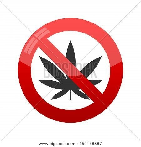 Prohibition sign. No cannabis vector on white background