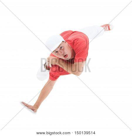 Teenager dancing break dance in action over white