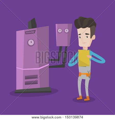 Young smiling plumber making some notes in his clipboard. Plumber inspecting heating system in boiler room. Technician servicing heating system.  flat design illustration. Square layout.