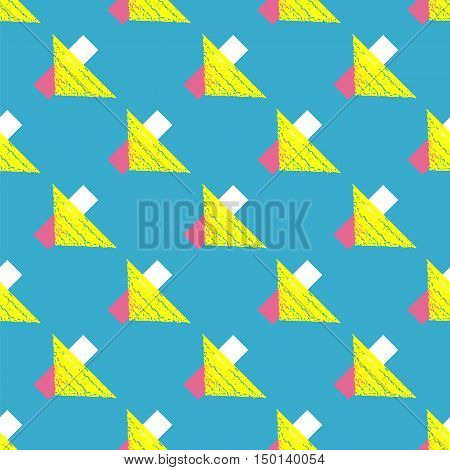 Retro vintage 80 Memphis style of fashion illustration. Yellow triangle Seamless pattern vector illustration