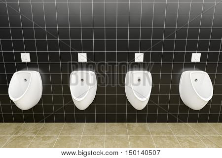 3d rendering of a public restroom with urinals in a row