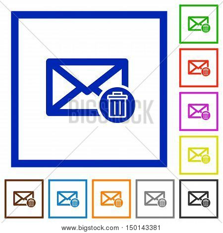 Set of color square framed Draft mail flat icons