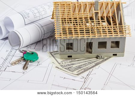 House Under Construction, Keys, Currencies Dollar And Electrical Drawings, Concept Of Building Home