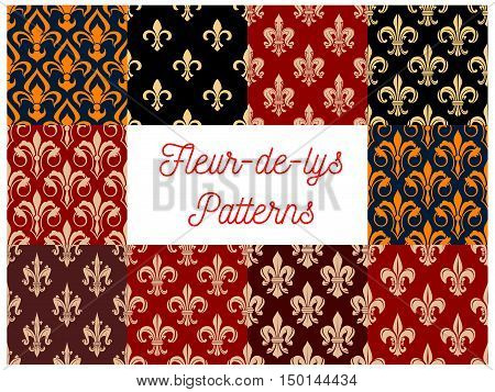 Vintage fleur-de-lis seamless patterns with set of floral ornaments with french royal lily flowers and leaf scroll. Wallpaper and interior accessories design