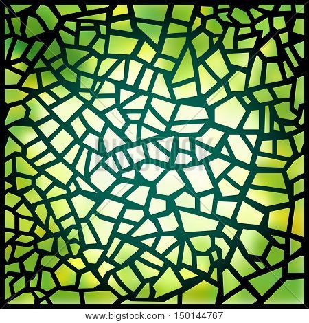 Beautiful green stained-glass window. Vector illustration. Magic square background. Suns rays penetrating through a green colorful stained glass window. Luminous glass. Pattern mosaic.