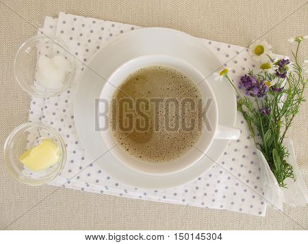 Butter coffee with butter and coconut oil