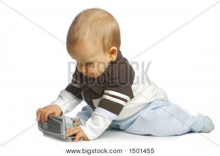 Baby geïnteresseerd een rekenmachine