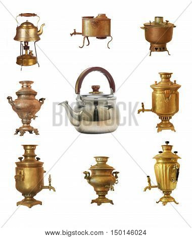 The samovars and kettle  on a white background