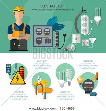 Professional electrician infographics electricity tools installation and repair electrical equipment vector illustration