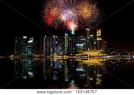 SINGAPORE CITY, SINGAPORE - FEBRUARY 22, 2016: Marina Bay Sands fireworks at night during Light and Water Show 'Wonder Full' . It opened on 27 April 2010. Singapore on FEBRUARY 22, 2016