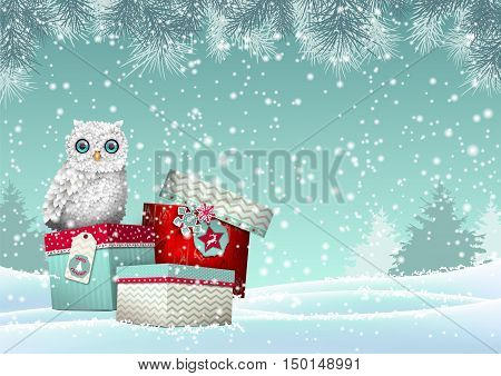 Christmas theme, cute white owl sitting on group of three colorful gift boxes in winter snowy landscape, vector illustration, eps 10 with transparency