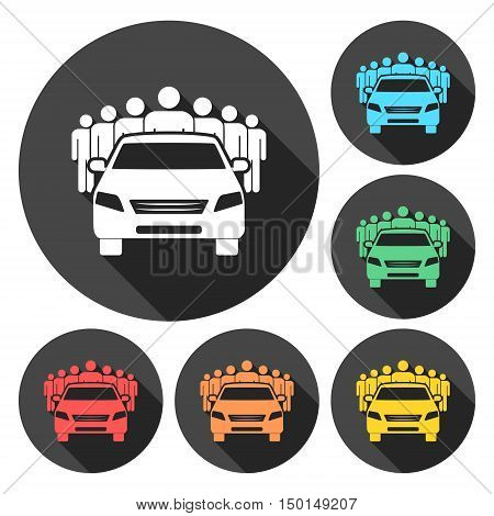 Car Sharing icon set with long shadow