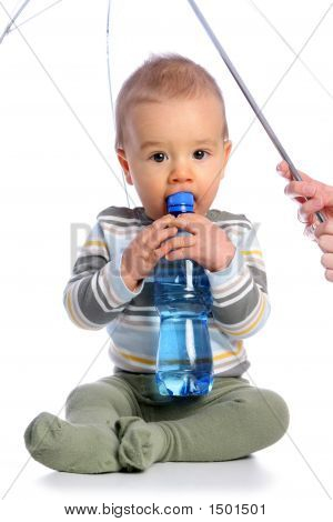 Baby With Bottle Of Water