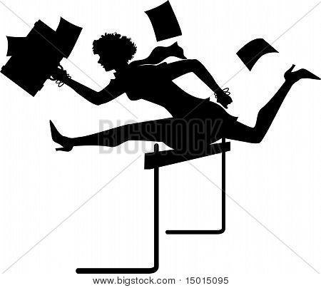 Busnesswoman hurdling