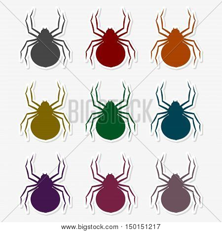 Set of silhouette spider icon on gray background