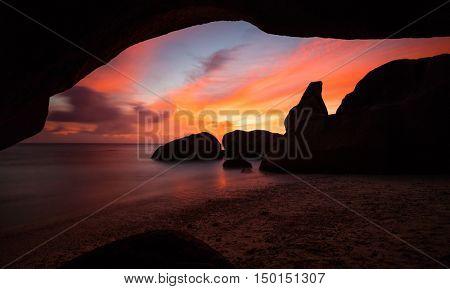 Beautiful Seychelles tropical beach Anse Source D Argent at La Digue island in sunset dark light
