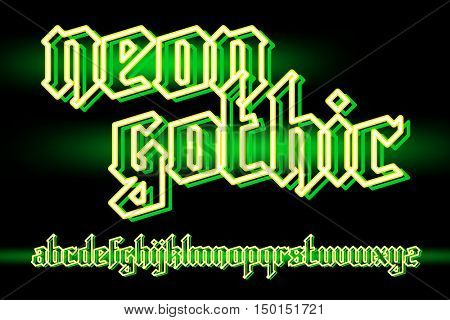 Acid green neon light gothic alphabet font. vector font set