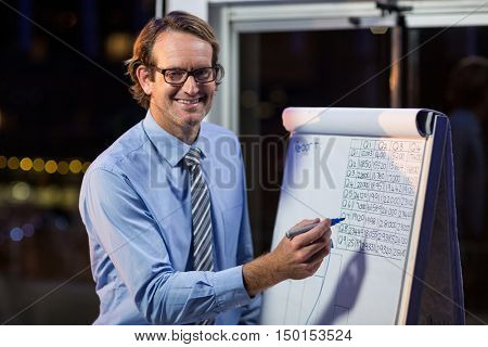 Businessman writing on whiteboard in office at night