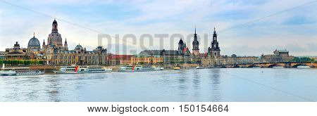 Panorama of Dresden Old Town over the Elbe River.