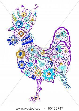 Decorative zentangle cock. Hand drawn vector stock illustration. Colorful image. Year 2017 symbol.