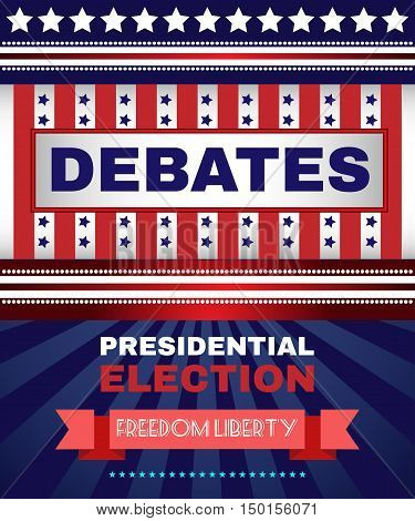 Digital vector usa election with presidential debates, freedom and liberty, flat style