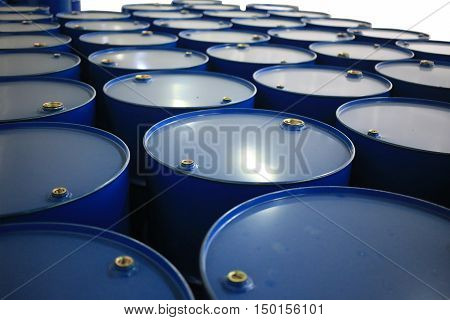 barrels of blue color on a white backgroun