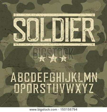 Soldier alphabet. Military design set. Army design elements. Military camouflage seamless pattern. Classic grunge star. Grunge scratches texture background.