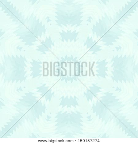 Abstract geometric seamless background. Regular concentric circle ornament, frost pattern in white and aquamarine shades, centered and blurred.