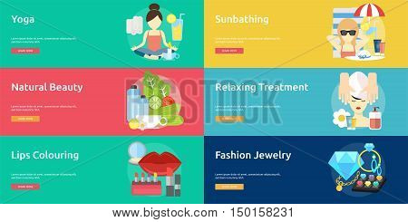 Beauty and Fashion Conceptual Design Set of great banner flat design illustration concepts for beauty, fashion, stylist, cosmetic and much more.