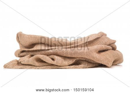 Empty burlap Sack of Sinterklaas .Isolated on white background. Typical Dutch character part of a traditional event celebrating the birthday of st.Nicolaas (Santa Claus) in december.