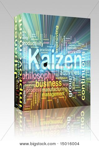 Software package box Word cloud concept illustration of kaizen improvement glowing light effect