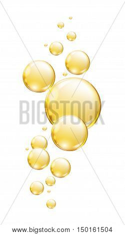 Gold drops on a white background  .