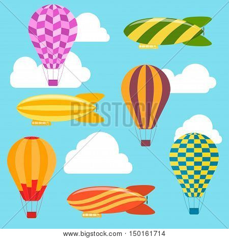Air Balloons and Airships Background. Flat Design Style. Vector illustration