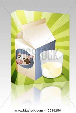 Software package box Cow milk carton with filled glass illustration