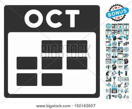 October Calendar Page pictograph with bonus calendar and time management pictograph collection. Vector illustration style is flat iconic bicolor symbols, blue and gray colors, white background.
