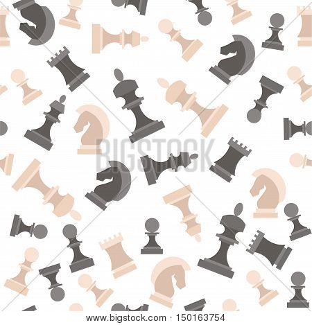 Chess Pieces. Figures Black and White Background Pattern. Vector illustration
