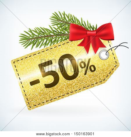 Christmas golden glitter price 50 percent sale vector delivery with bow nd twig .Isolated from background. layered.
