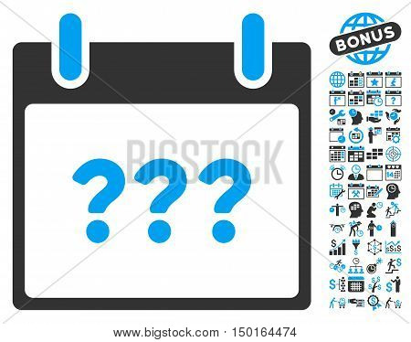 Unknown Calendar Day icon with bonus calendar and time management images. Vector illustration style is flat iconic bicolor symbols, blue and gray colors, white background.
