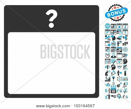 Unknown Calendar Page icon with bonus calendar and time management graphic icons. Vector illustration style is flat iconic bicolor symbols, blue and gray colors, white background.