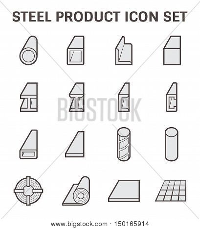 Vector icon of steel pipe and steel structure.